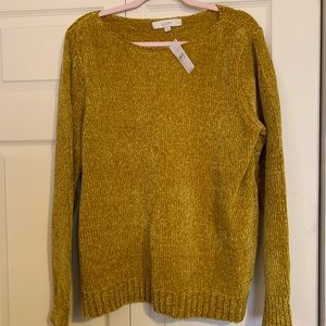 LOFT gold chenille sweater NWT